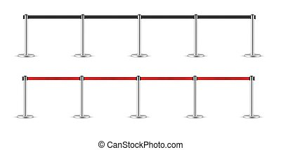 Realistic retractable belt stanchion set. Portable ribbon barrier. Black and Red fencing tape. Chrome stanchion