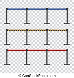 Realistic retractable belt stanchion set. Portable ribbon barrier. Black, red yellow striped fencing tape. Dark matte stanchion