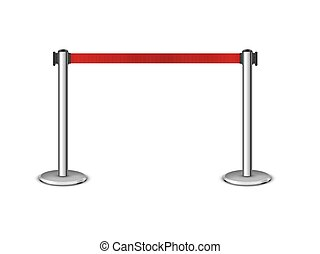 Retractable belt stanchion. Portable ribbon barrier. Red fencing tape. Chrome stanchion