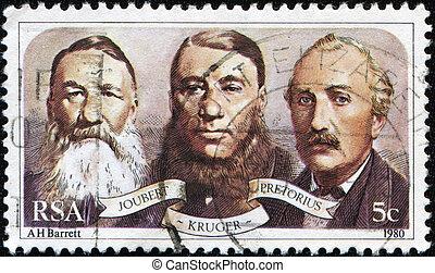 RSA - CIRCA 1990: A stamp printed in Republic of South Africa shows Jobert, Kruger, Pretorius, circa 1990