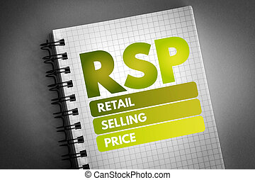 RSP - Retail Selling Price acronym, business concept background
