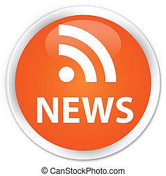 (rss), ニュース, ボタン, アイコン, オレンジ