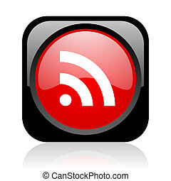 rss black and red square web glossy icon