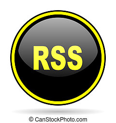 rss black and yellow glossy internet icon