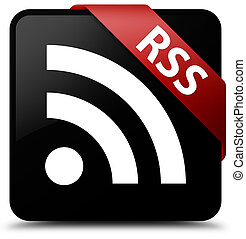 RSS black square button red ribbon in corner