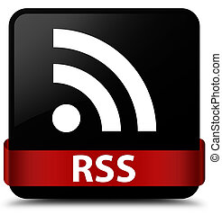 RSS black square button red ribbon in middle