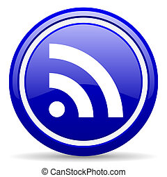 rss blue glossy icon on white background - blue glossy ...