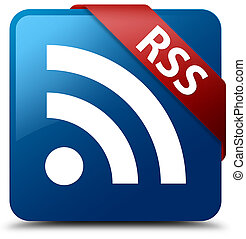 RSS blue square button red ribbon in corner