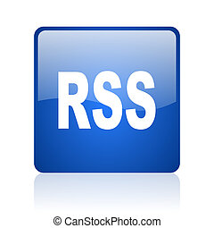 rss blue square glossy web icon on white background