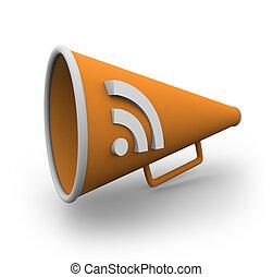 RSS Bullhorn 2 - An orange bullhorn with the rss logo on the...