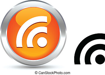 Rss button. - Rss realistic button. Vector illustration.