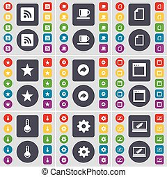 RSS, Cup, File, Star, Back, Window, Thermometer, Gear, Laptop icon symbol. A large set of flat, colored buttons for your design. Vector
