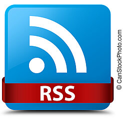 RSS cyan blue square button red ribbon in middle