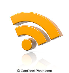 RSS Feed 3D Symbol with Reflection on White Background Illustration