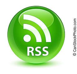 RSS glassy green round button