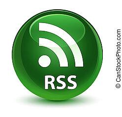 RSS glassy soft green round button