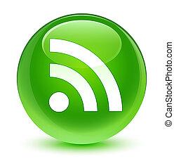 RSS icon glassy green round button