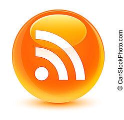 RSS icon glassy orange round button