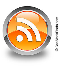 RSS icon glossy orange round button