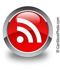 RSS icon glossy red round button