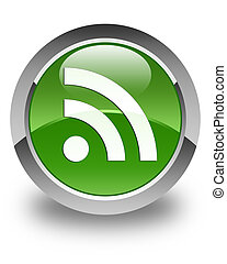 RSS icon glossy soft green round button