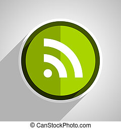 rss icon, green circle flat design internet button, web and mobile app illustration