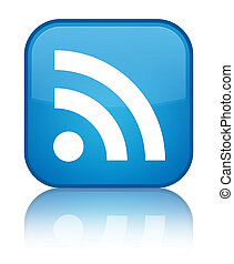 RSS icon special cyan blue square button