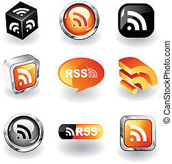RSS Icons - Set of 9 different RSS feed icons