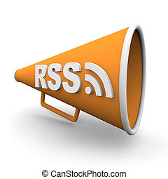 A orange bullhorn or megaphone with the word rss on it, on white background