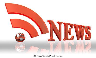 rss, notizie, logotipo, parola