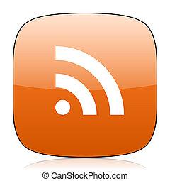 rss orange square web design glossy icon
