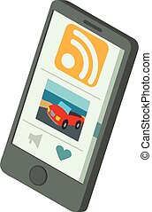 Rss phone icon, isometric 3d style