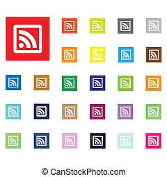 rss, plano, icon., vector, illustration.