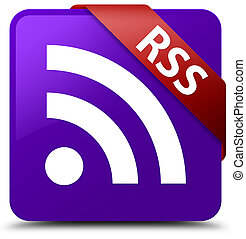 RSS purple square button red ribbon in corner