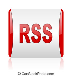 rss red and white square web glossy icon