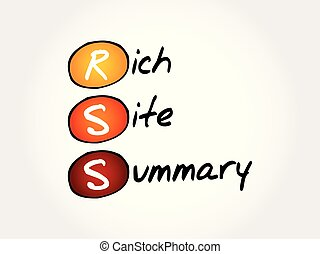 RSS - Rich Site Summary, acronym concept background