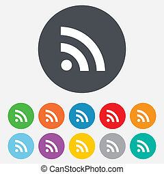 RSS sign icon. RSS feed symbol. Round colourful 11 buttons....