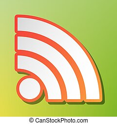 RSS sign illustration. Contrast icon with reddish stroke on green backgound.