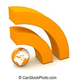 orange RSS symbol rendered in 3D on white ground