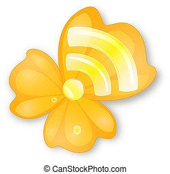 rss sign on orange flower