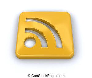 RSS symbol - 3D render of an RSS symbol