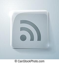 rss symbol. Glass square icon