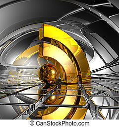 rss symbol in abstract space - 3d illustration