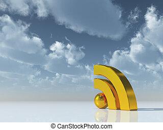 rss symbol under cloudy blue sky - 3d illustration