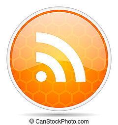 Rss web icon. Round orange glossy internet button for webdesign.