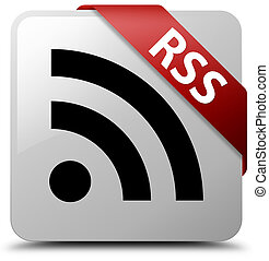 RSS white square button red ribbon in corner