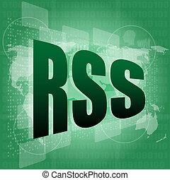 RSS word on digital screen