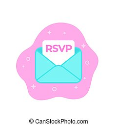 RSVP icon with envelope, flat vector