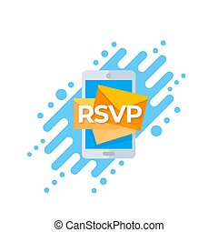 RSVP icon with mobile mail, vector