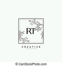 RT Beauty vector initial logo art, handwriting logo of initial signature, wedding, fashion, jewerly, boutique, floral and botanical with creative template for any company or business.
